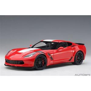 Chevrolet Corvette C7 Grand Sport 2017 Red With White Stripes AUTOART 1:18 AA71274